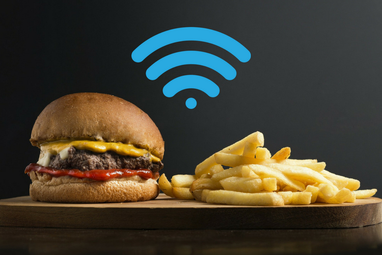 burger, chips and wifi image